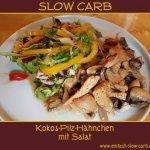 Kokos-Pilz-Hähnchen mit Salat