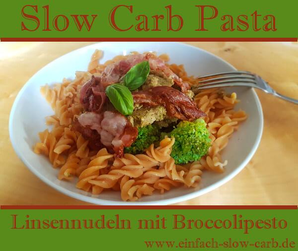 Linsennudeln mit Broccolipesto